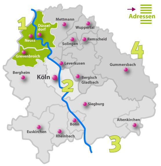 Karte der Behindertenseelsorge vor Ort | Region 1