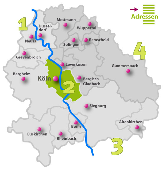 Karte der Behindertenseelsorge vor Ort | Region 2