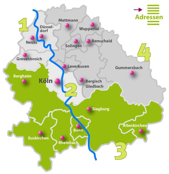 Karte der Behindertenseelsorge vor Ort | Region 3