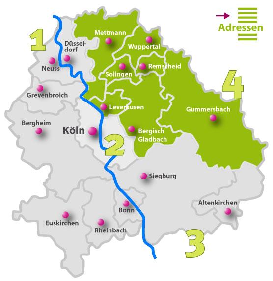 Karte der Behindertenseelsorge vor Ort | Region 4